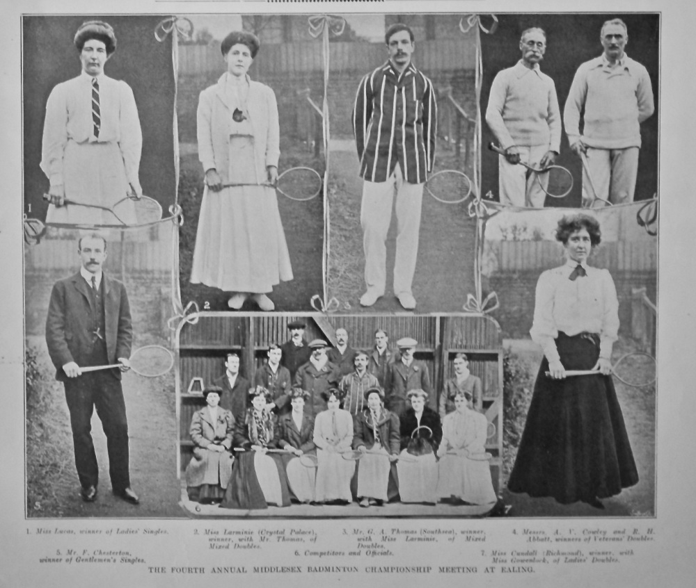 The Fourth Annual Middlesex Badminton Championship Meeting at Ealing.  1908.