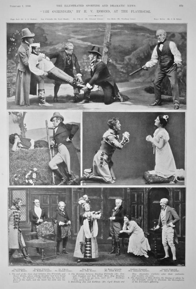 """""""The O'Grindles,"""" by H. V. Esmond, at the Playhouse.  1908."""