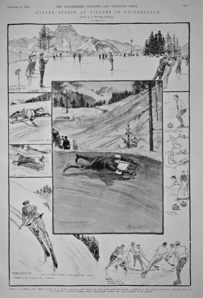 Winter Sports in Villars in Switzerland.  1908.