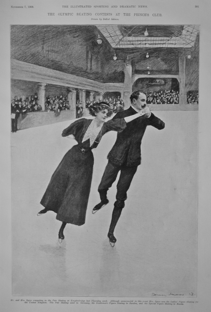 The Olympic Skating Contests at the Prince's Club.  1908.