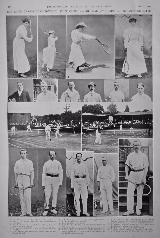 The Lawn Tennis Championships at Wimbledon.- Colonial and Foreign Entrants Defeated.  1908.