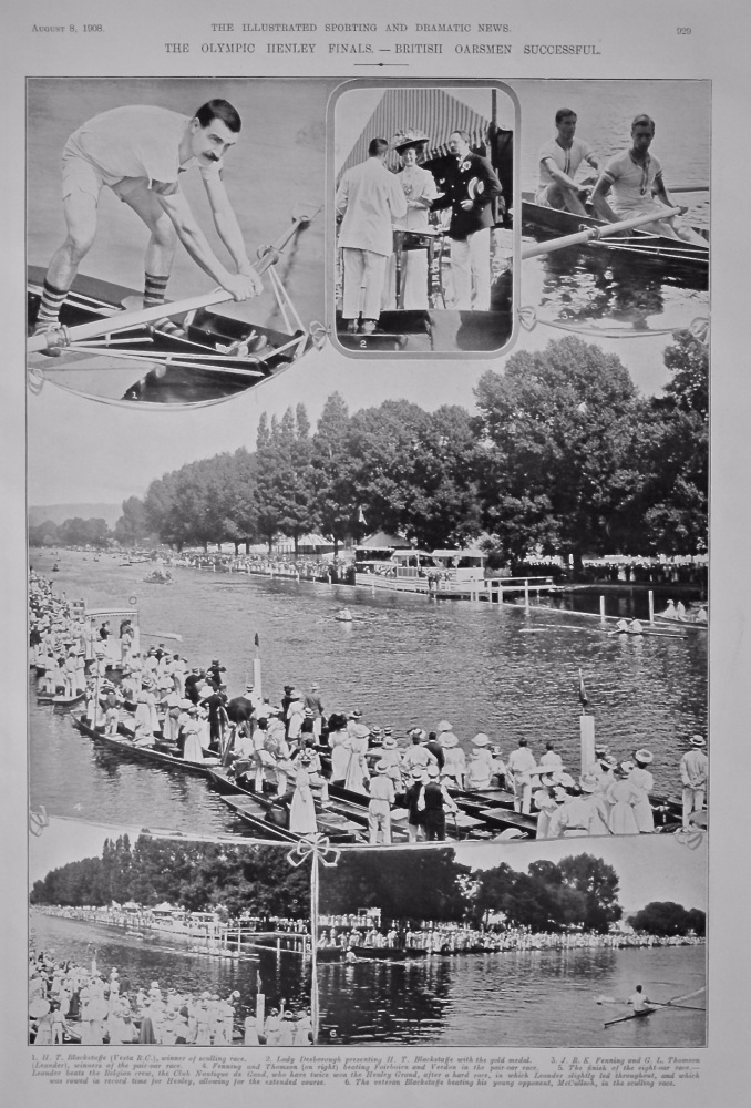 The Olympic Henley Finals. - British Oarsmen Successful.  1908.