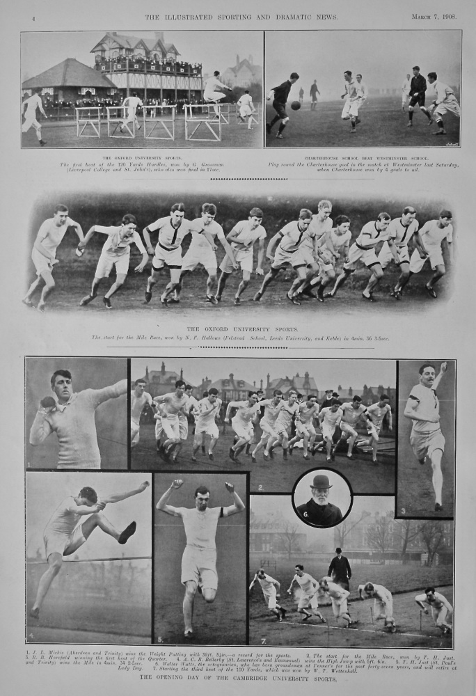 The Oxford University Sports. &  The Opening Day of the Cambridge University Sports.  1908.