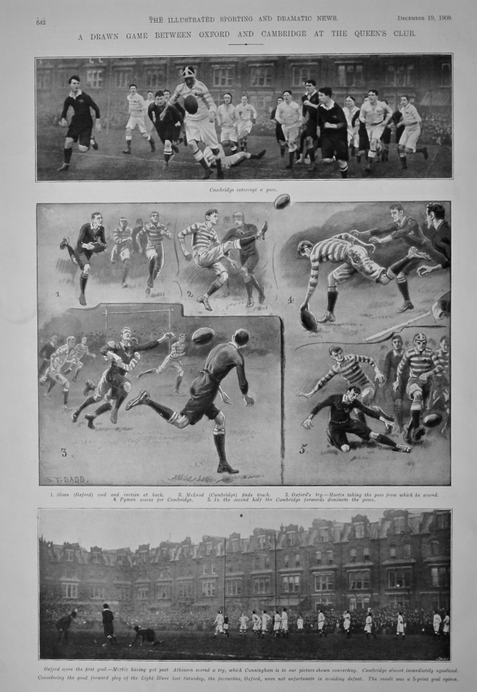 A Drawn Game between Oxford and Cambridge at the Queen's Club.  (Rugby)  1908.