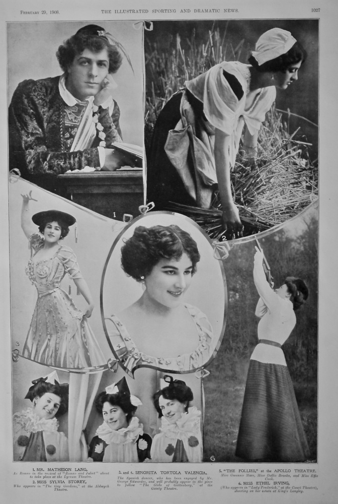 Actors and Actresses on the Stage at this time.  February 1908.