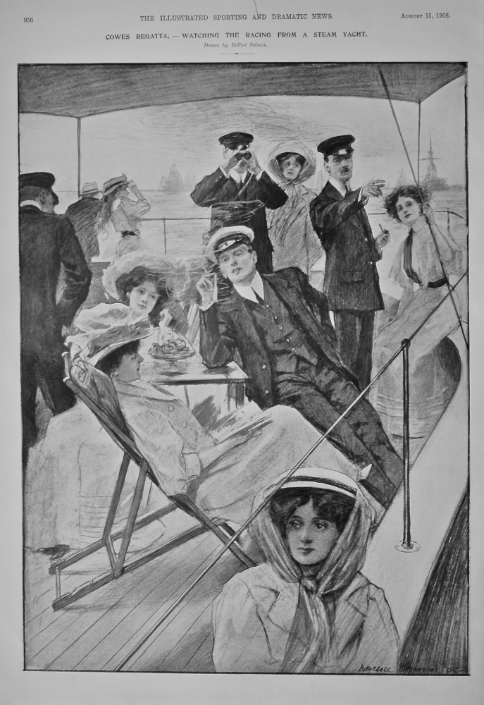 Cowes Regatta.- Watching the Racing from a Steam Yacht.  1908.