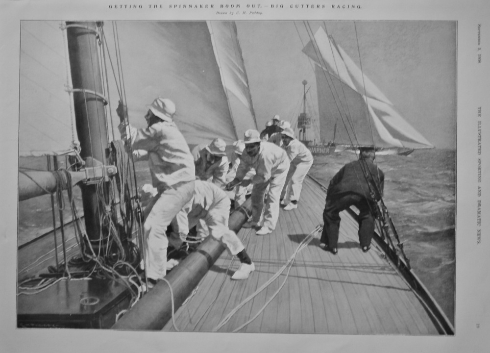 Getting the Spinnaker Boom out.- Big Cutters Racing.  1908.