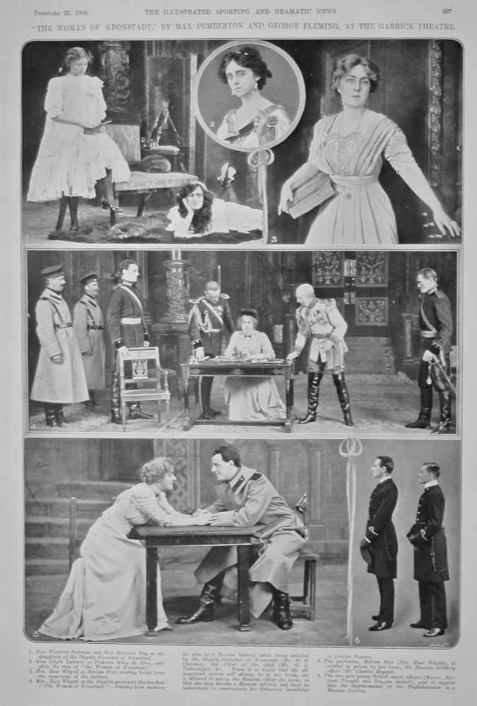 """""""The Woman of Kronstadt,"""" by Max Pemberton and George Fleming, at the Garrick Theatre.  1908."""