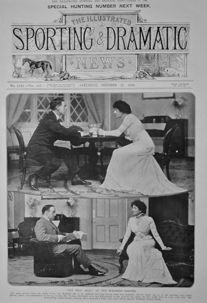 """""""The Sway Boat,"""" at the Kingsway Theatre.  1908."""