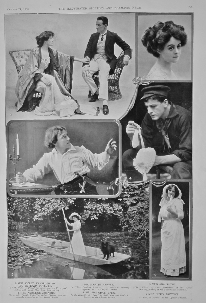 Actors and Actresses on the Stage at this time.  October 1908.