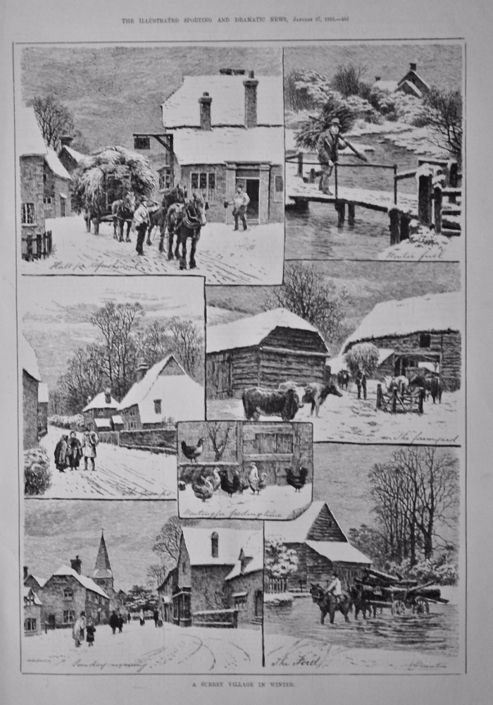 A Surrey Village in Winter.  1883.