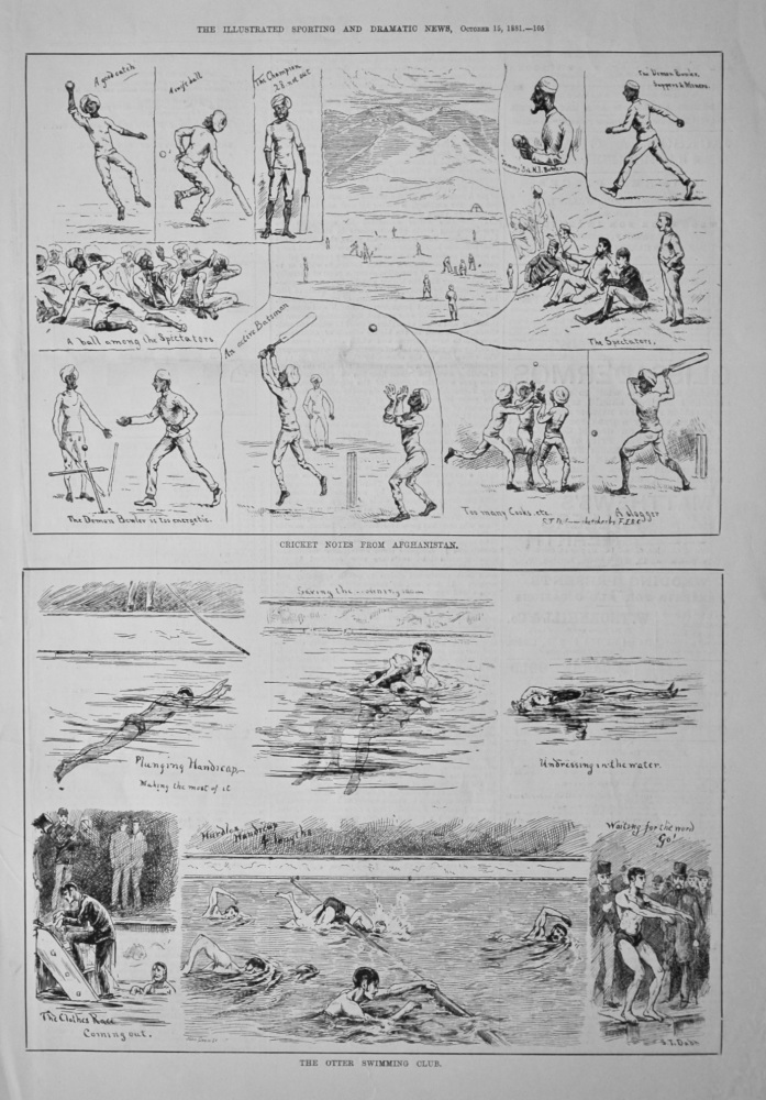 Cricket Notes from Afghanistan  &  The Otter Swimming Club.  1881.