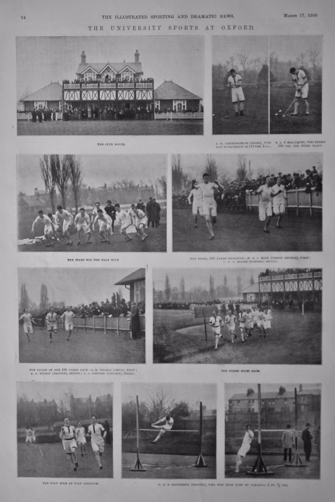 The University Sports at Oxford.  1900.
