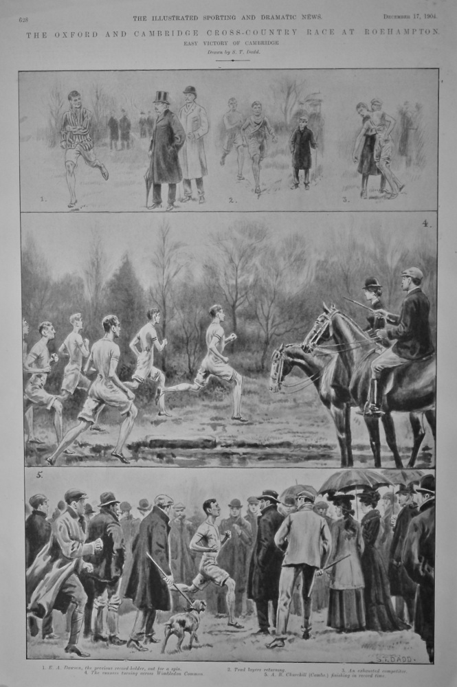 The Oxford and Cambridge Cross-Country Race at Roehampton.  (Easy Virtory of Cambridge)  1904.