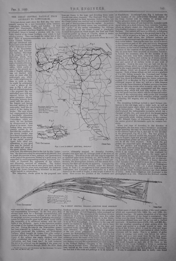 The Great Central Railway from Annesley to Nottingham. 1899.