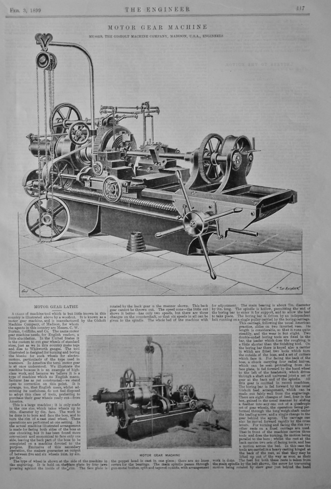 Motor Gear Lathe.  1899.