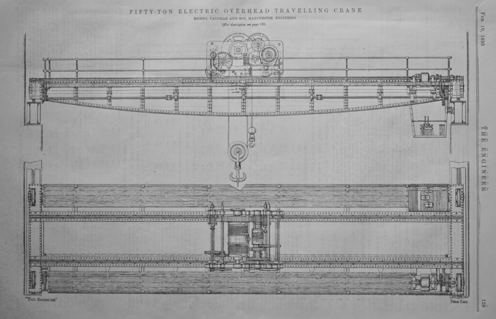50-Ton Electric Overhead Travelling Crane.  1899.