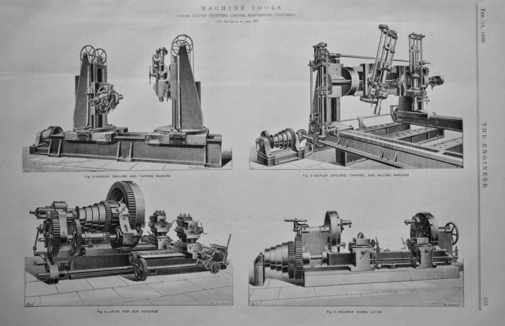 Machine Tools. (Messrs. Craven Brothers, Limited, Manchester, Engineers.)  1889.