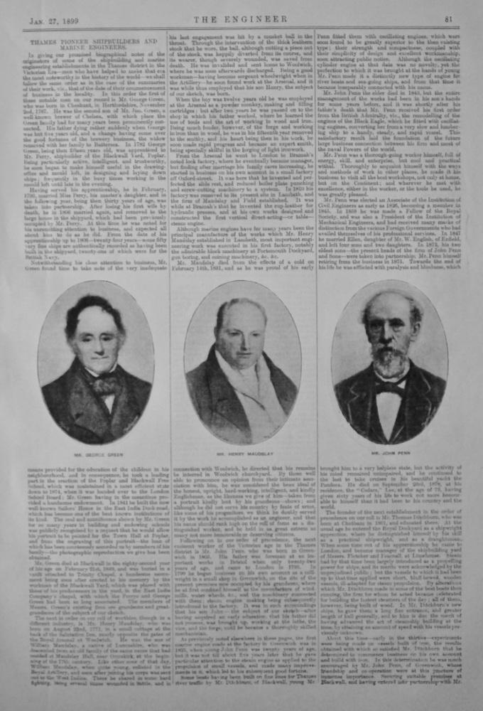 Thames Pioneer Shipbuilders and Marine Engineers.  1899.