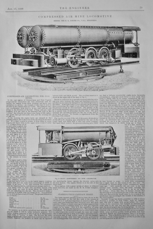Compressed Air Mine Locomotive.  (Messrs. The H. K. Porter Co., U.S.A., Eng
