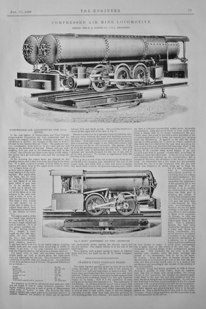 Compressed Air Mine Locomotive.  (Messrs. The H. K. Porter Co., U.S.A., Engineers.)  1899.