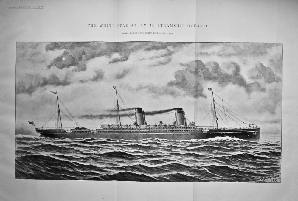 The White Star Atlantic Steamship Oceanic.  1899.