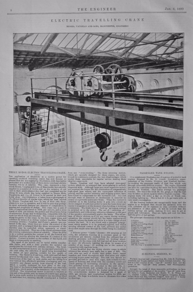 Three Motor Electric Travelling Crane.  Messrs. Vaughan and Sons, Manchester, Engineers.  1899.