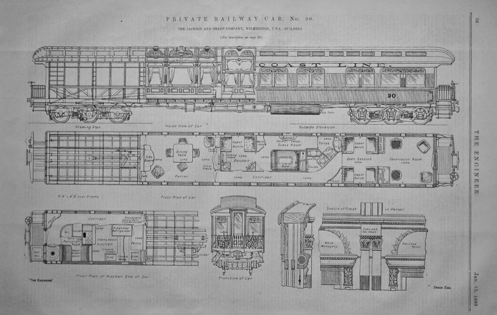 Private Railway Car, No. 90.  (The Jackson and Sharp Company, Wilmington, U.S.A. , Builders.)  1899.