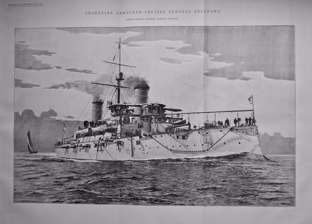 Argentine Armoured Cruiser General Belgrano.  1899.
