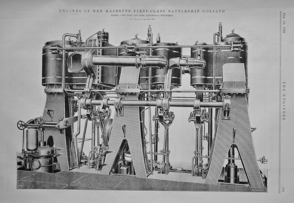 Engines of Her Majesty's First-Class Battleship Goliath.  1899.