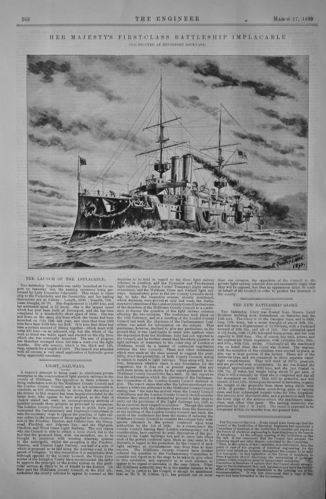 Her Majesty's First-Class Battleship Implacable.  1899.