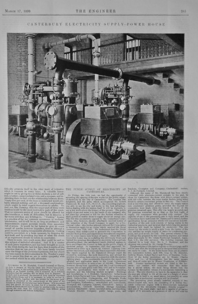 Canterbury Electricity Supply Power House.  1899.