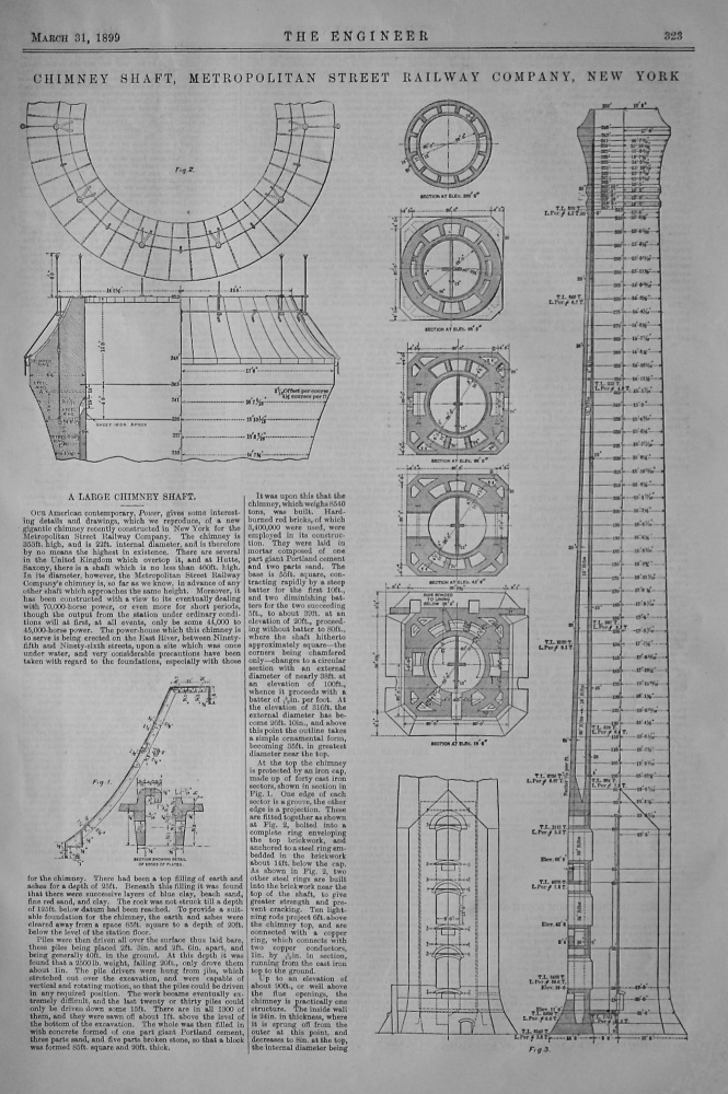 Chimney Shaft,  Metropolitan Street Railway Company, New York.  1899.