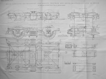 Bogie Carriages, South-Eastern and London, Chatham, and Dover Railways- Details of Bogie.  1899.