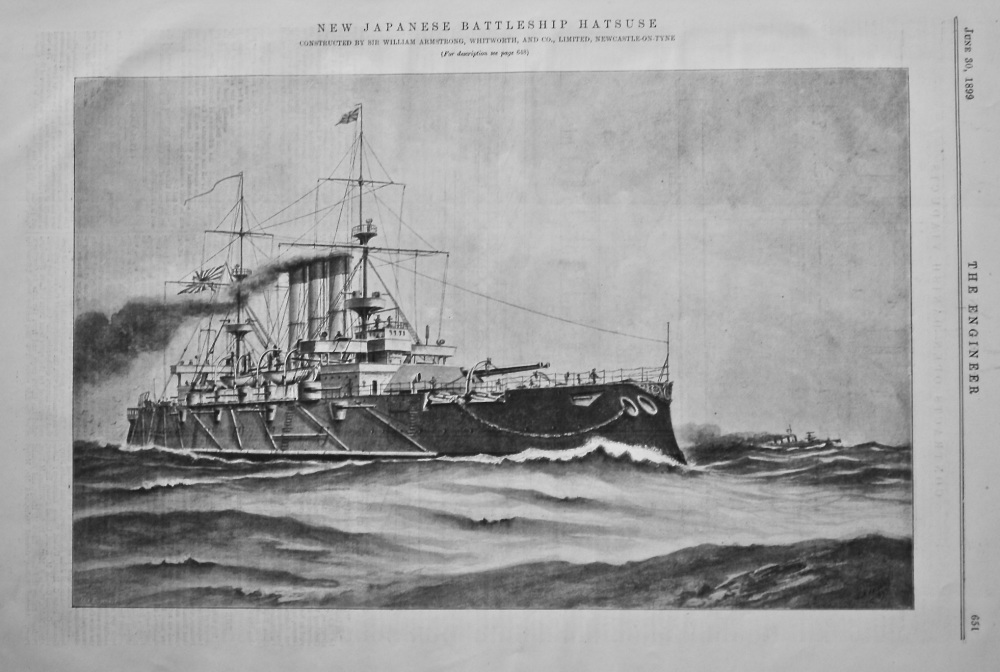 The Imperial Japanese Battleship Hatsuse.  1899.