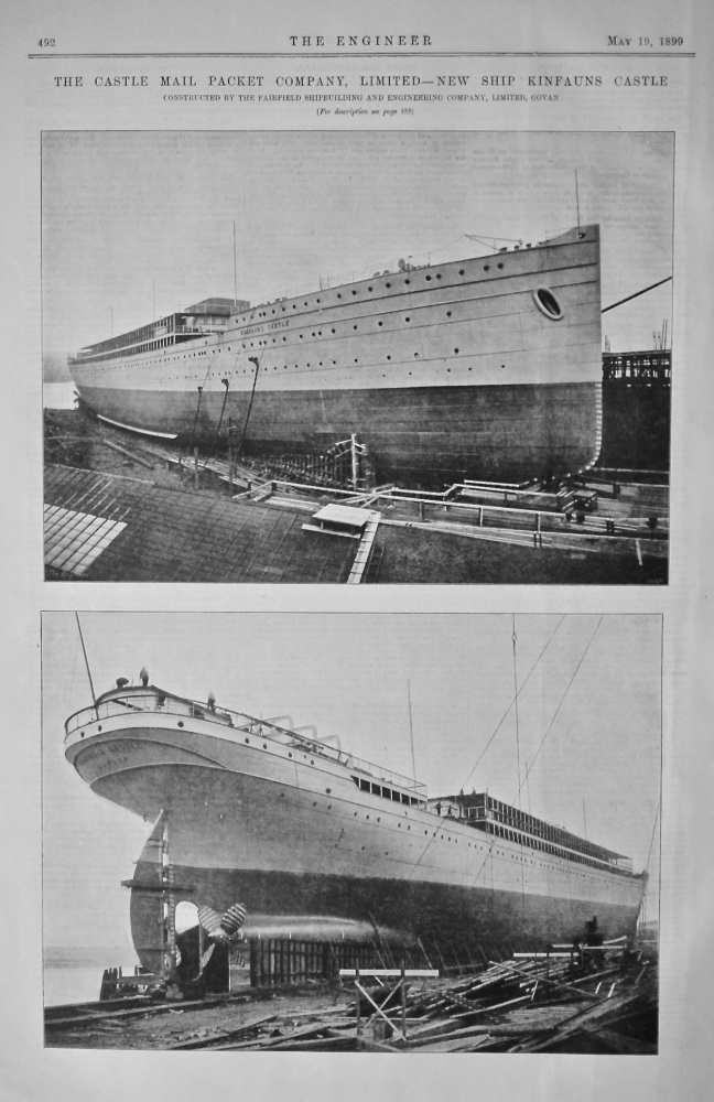 The Castle Mail Packet Company, Limited - New Ship Kinfauns Castle.  1899.