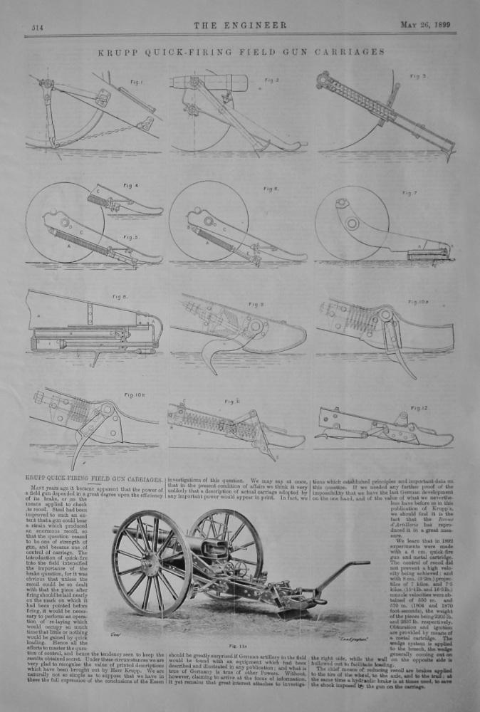Krupp Quick-Firing Field Gun Carriages.  1899.