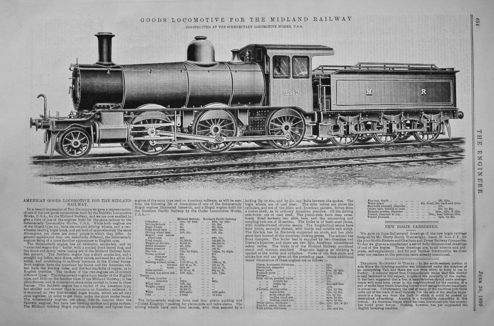 Goods Locomotive for the Midland Railway.  1899.