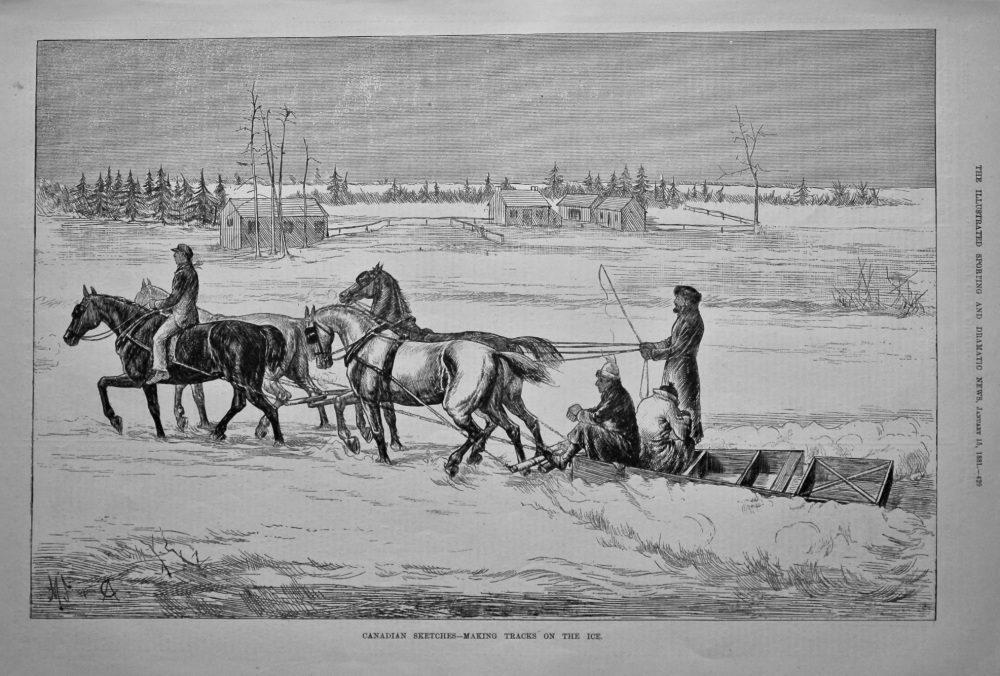 Canadian Sketches- Making Tracks on the Ice.  1881.