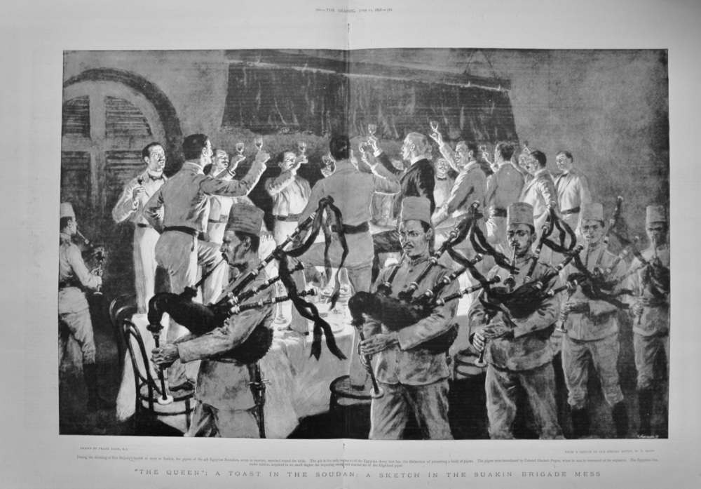 """""""The Queen"""" : A Toast in the Sudan : A Sketch in the Suakin Brigade Mess.  1898."""