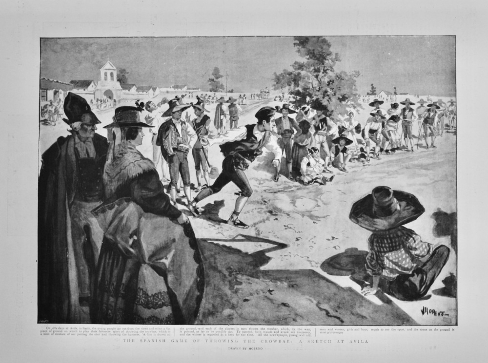 The Spanish Game of throwing the Crowbar :  A Sketch at Avila. 1898.