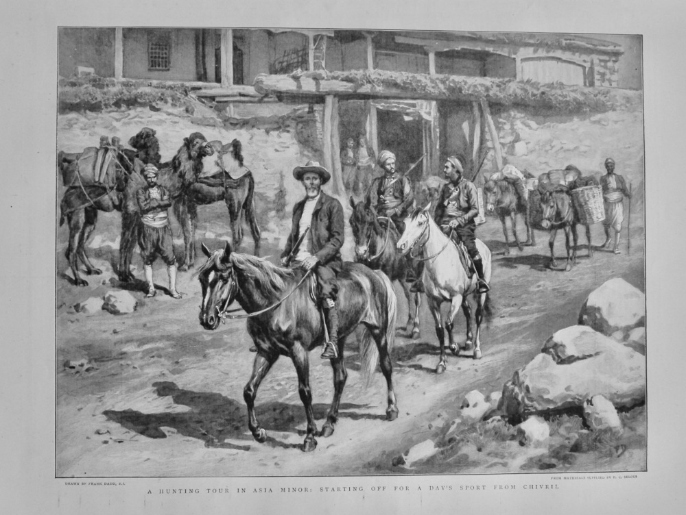 A Hunting Tour in Asia Minor : Starting off for a day's Sport from Chivril.  1898.