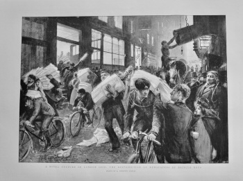 A Novel Picture in London Life : The Distribution of Newspapers by Bicycle Boys.  1898.