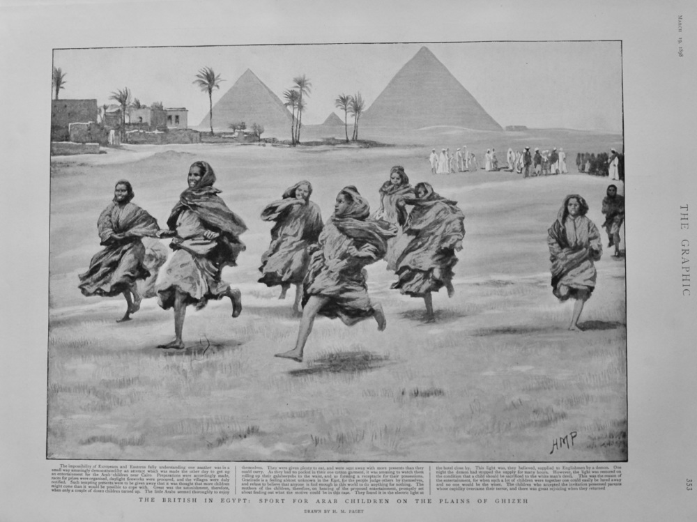 The British in Egypt : Sport for Arab Children on the Plains of Ghizeh. 1898.