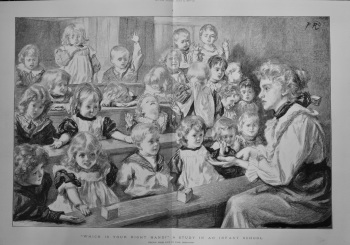 """""""Which is your Right Hand ?""""  A Study in an Infant School.  1898."""