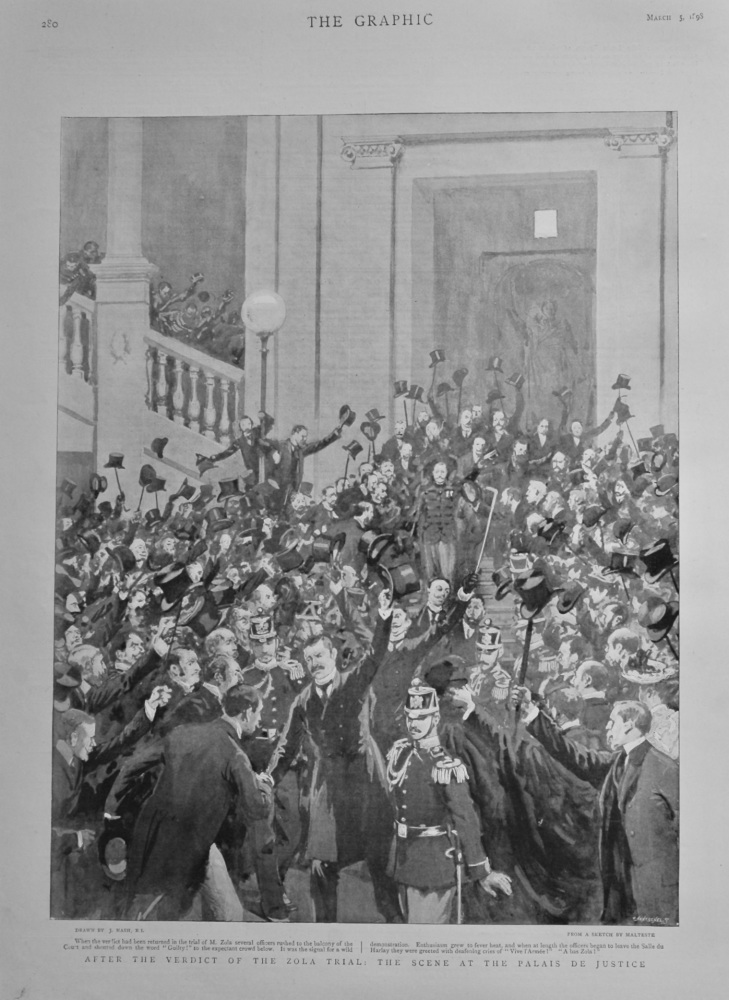 After the Verdict of the Zola Trial : The Scene at the Palais De Justice.  1898.