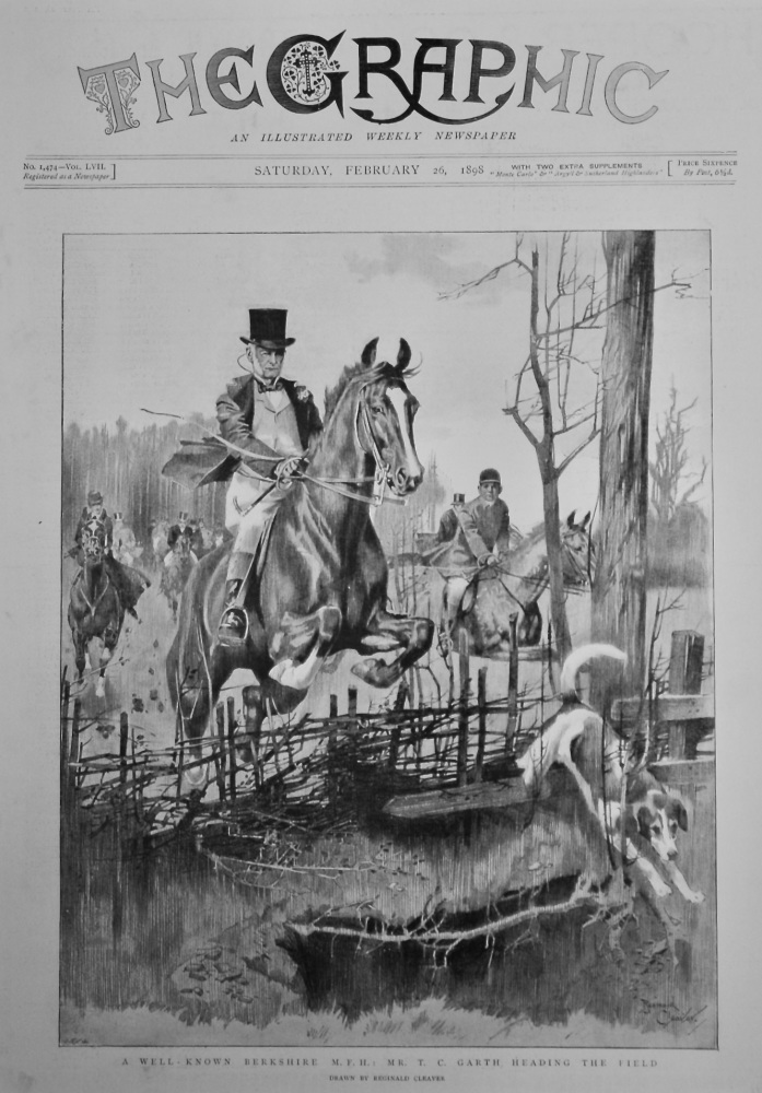 A Well - Known Berkshire M. F. H. : Mr. T. C. Garth, Heading the Field.  1898.