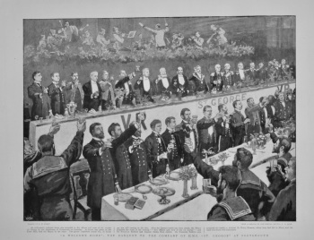 """A Welcome Home"" : The Banquet to the Company of H.M.S. ""St. George"" at Portsmouth.  1898."