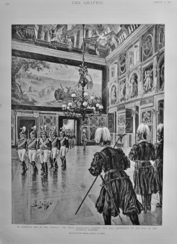 An Audience Day at the Vatican : The Pope's Bodyguard crossing the Sala Clementina on the way to the Audience Chamber.  1898.