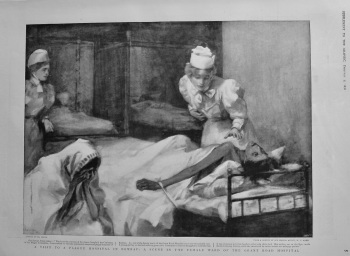 A Visit to a Plague Hospital in Bombay : A Scene in the Female Ward of the Grant Road Hospital.  1898.